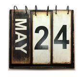May 24. With vintage calendar isolated on white background royalty free stock photos