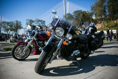 Opening of the biker season. May, 2013 - Vladivostok, Primorsky Krai - Opening of the biker season. Bikers from all over the Primorsky Territory gather on the stock photography