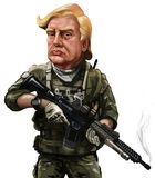 Cartoon of Donald Trump in soldier uniform- Illustrated by Erkan. May 18, War themed cartoon of Donald Trump - Illustration of the American President Royalty Free Stock Photos