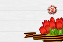 9 may wooden board St George ribbon. 9 may wooden board red tulip St George ribbon. Victory Day order Gear War. Winner Great war 1941-1945. Vector wooden board royalty free illustration