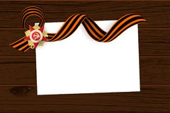 9 may wooden board St George ribbon. Victory Day order Gear War. Winner Great war 1941-1945. Vector wooden board illustration background. Greeting banner stock illustration