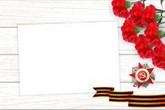 9 may wooden board St George ribbon. 9 may wooden board red carnations St George ribbon. Victory Day order Gear War. Winner Great war 1941-1945. Vector wooden vector illustration