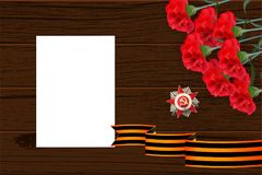 9 may wooden board St George ribbon. 9 may wooden board red carnations St George ribbon. Victory Day order Gear War. Winner Great war 1941-1945. Vector wooden royalty free illustration