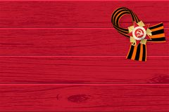 9 may wooden board St George ribbon. 9 may wooden board red George ribbon. Victory Day order Gear War. Winner Great war 1941-1945. Vector wooden board royalty free illustration