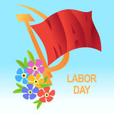 1 May Worker's Day. International Labor Day, Mayday. Red flag, h Stock Photos