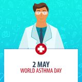 2 May. World Asthma Day. Medical holiday. Vector medicine illustration. 2 May. World Asthma Day. Medical holiday. Vector medicine illustration Royalty Free Stock Images