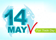 14 may World Fair Trade Day. Greeting text for card. Illustration in vector format Royalty Free Stock Photo