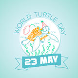 23 may World Turtle Day. Calendar for each day on may 23. Greeting card. Holiday - World Turtle Day. Icon in the linear style Royalty Free Stock Photos