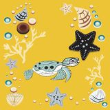 May 23 - World Turtle Day. Undrewater clipart , seashells and plants Stock Photo
