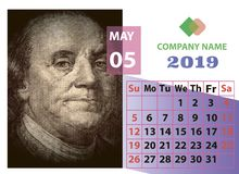 May year 2019 monthly calendar with portrait of Benjamin Franklin. Close up royalty free stock photography