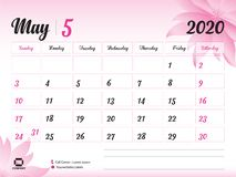 May 2020 Year Template, Calendar 2020 Vector, Desk Calendar Design, pink flower concept for cosmetics, beauty, spa, business; week. Start On Sunday, Planner royalty free illustration