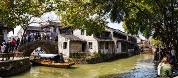 April 2017 - Zhouzhuang, China - tourists crowd Zhouzhuang water Village near Shanghai. April 2017 - Zhouzhuang, China - Zhouzhuang is one of the most famous royalty free stock image