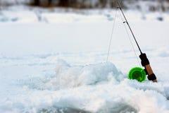 Mały zima połowu prącia lód Zdjęcie Royalty Free