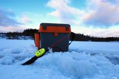 Mały zima połowu prącia lód Zdjęcia Stock