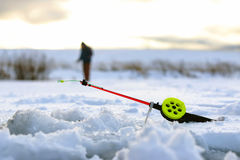 Mały zima połowu prącia lód Obraz Stock