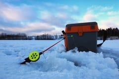 Mały zima połowu prącia lód Zdjęcia Royalty Free