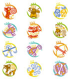 Maya art stylized zodiac signs Stock Photos