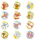 Maya art stylized zodiac signs Stock Photos