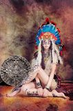 Maya asiático modelo del injun y del calendario Imagen de archivo