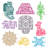 Maya and Aztec symbols. Cultures and history concept, bright iconographic mythological ornaments for decor. Vector flat style illustration isolated on white Royalty Free Stock Image