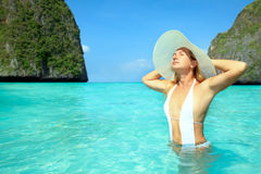 Maya bay. Beautiful woman enjoy the sun at Maya bay. Phi phi island Stock Image