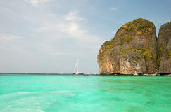 Maya Bay. Turquoise water against blue sky Stock Photo