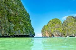 Maya Bay heavenly beach, Thailand. Maya Bay heavenly beach on a background of blue sky and azure sea and amazing limestone rocks, Phi Phi Islands, Thailand Stock Images