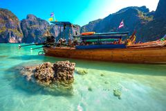 Maya Bay, ilha de Phi Phi Leh, Krabi, Tailândia fotografia de stock