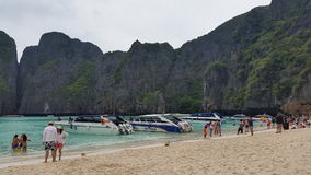 Maya Bay Koh Phi Phi tropical island - Thailand Tourism. Maya Bay Thai tourism destination, located on Koh Phi Phi Leh or Ko Phi Phi Ley, an island of the Phi stock video