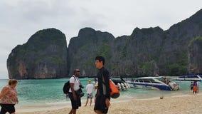 Maya Bay Koh Phi Phi tropical island - Thailand Tourism. Maya Bay Thai tourism destination, located on Koh Phi Phi Leh or Ko Phi Phi Ley, an island of the Phi stock video footage