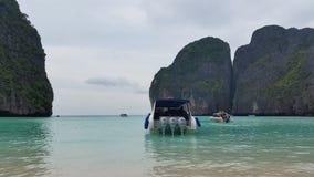 Maya Bay Koh Phi Phi tropical island - Thailand Tourism. Maya Bay Thai tourism destination, located on Koh Phi Phi Leh or Ko Phi Phi Ley, an island of the Phi stock footage