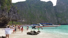 Maya Bay Koh Phi Phi tropical island - Thailand Tourism stock video footage