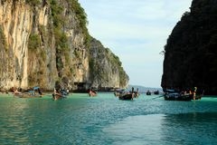 Maya Bay is the most beautiful paradise beach in Thailand. royalty free stock photography