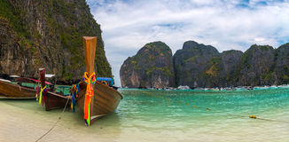 Maya Bay panorama. Panorama of the most beauitul beach, Maya Bay, in Phi Phi islands, Thailand Royalty Free Stock Photo