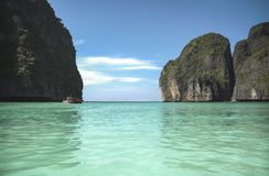 Maya Bay in Phi Phi Islands. Thailand. Maya bay is a famous beach in Koh Phi Phi Leh. It has become even more popular after the 2000 movie The Beach was filmed Stock Image