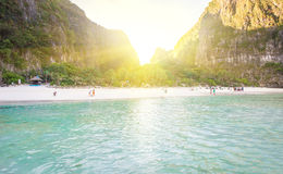 Maya bay at sunrise Stock Images
