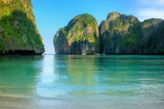 Maya Bay surrounded by limestone cliffs on Phi Phi Leh Island, K Royalty Free Stock Image