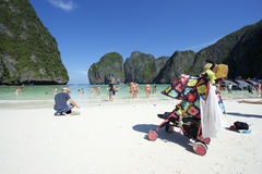 Maya Bay Thailand Family Tourists with Stroller Stock Photography