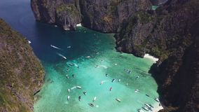 Maya bay tropical beach in Thailand. Aerial view. Shot with a DJI Mavic fps29,97 4k stock video