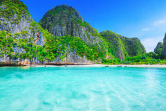 Maya Bay. View of Maya Bay, Phi Phi island, Thailand Stock Photos