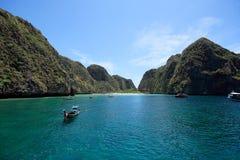 Maya Bay viewed from the front. Maya Bay at Phi Phi Leh Island, Krabi, Thailand stock photos