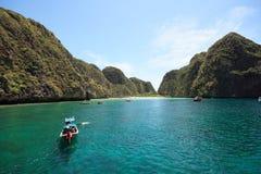 Maya Bay viewed from the front. Maya Bay at Phi Phi Lay Island, Krabi, Thailand stock photo