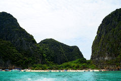 Maya beach in Thailand. View of Maya beach, an island of the Phi Phi archipelago, in the Andaman Sea stock photography