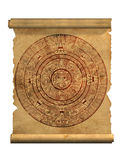 Maya calendar. On ancient parchment - over white vector illustration