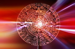 Maya calendar. Carved in stone with abstract background Stock Photos