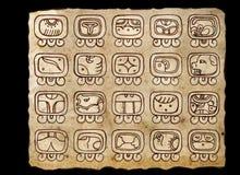 Maya Calendar. Tzolk`in Calendar. Black background Royalty Free Stock Images