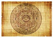 Maya calendar. On ancient parchment Royalty Free Stock Photo