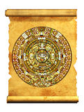 Maya calendar. On ancient parchment - over white Royalty Free Stock Images