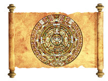 Maya calendar. On ancient parchment - over white Royalty Free Stock Image