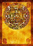 Maya calendar. On ancient wall Royalty Free Stock Photos